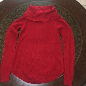 BCX Red Long Sleeve knitted  Shimmery Top Size XS